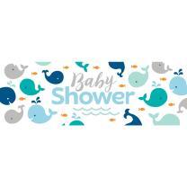 Baby Party Baby shower -  Kleiner Wal blau - Riesenbanner...