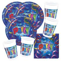 52-teiliges Party-Set Party Streamers  - Teller Becher...