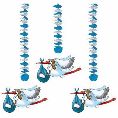 Baby - Spiralen mit Storch, blau