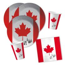 40-teiliges Party-Set Kanada - Teller Becher Servietten...