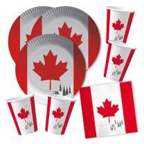 60-teiliges Party-Set Kanada - Teller Becher Servietten...