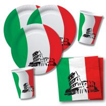 40-teiliges Party-Set Italien - Teller Becher Servietten...