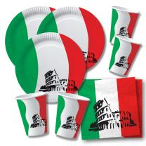 60-teiliges Party-Set Italien - Teller Becher Servietten...