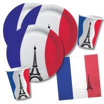 40-teiliges Party-Set Frankreich - Teller Becher...