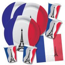 60-teiliges Party-Set Frankreich - Teller Becher...