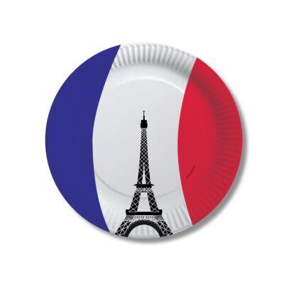 Frankreich - Teller - Pappteller 10 Stück, 23 cm
