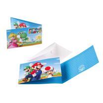 Super Mario Einladungen mit Umschlag, 8 Stück