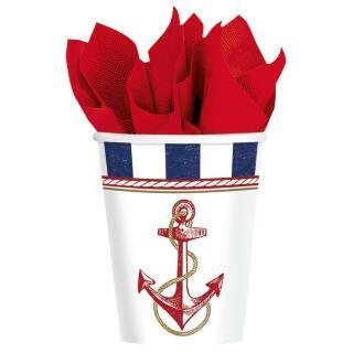 32-teiliges Party-Set maritim Anker auf! Anchors Aweigh - Teller Becher Servietten für 8 Personen