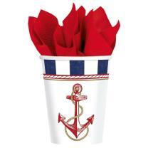 Pappbecher maritim Anker auf! Anchors Aweigh -  8...