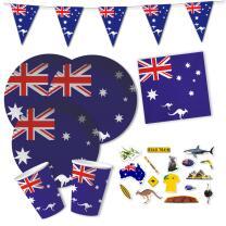 62-teiliges Party-Set Australien - Teller Becher...