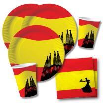 40-teiliges Party-Set Spanien - Teller Becher Servietten...