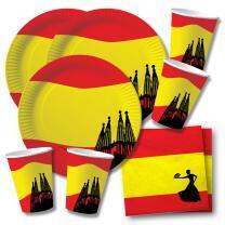 60-teiliges Party-Set Spanien - Teller Becher Servietten...