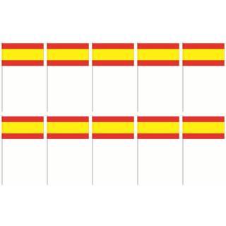 Spanien - 10 Papierflaggen Fähnchen 12 x 21 cm , Stab 39 cm