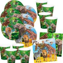 52-teiliges Party-Set (Folat) wilde Tiere - Safari  -...