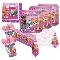 37-teiliges Party-Set Paw Patrol Pink - Teller Becher...