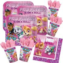 52-teiliges Party-Set Paw Patrol Pink - Teller Becher...