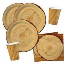 40-teiliges Party-Set Holzoptik für Grillparty - BBQ...