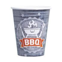 BBQ - Grillparty - 8 Becher - Pappbecher 0,25 l