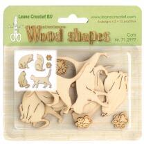 Leane Creatief Wood shapes - Holzformen - Cats - Katzen -...
