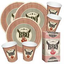 80-teiliges Party-Set Five Star  BBQ - Grillparty -  Teller, Becher, Servietten in Tablebox  für 20 Personen