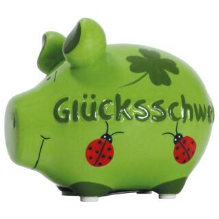 KCG Kleinschwein Keramik Sparschwein - Glücksschwein -  ca. 12 cm x 9 cm