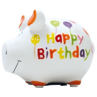 KCG Kleinschwein Keramik Sparschwein - Happy Birthday -  ca. 12 cm x 9 cm