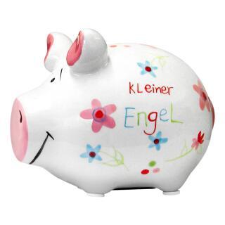 KCG Kleinschwein Keramik Sparschwein - Kleiner Engel -  ca. 12 cm x 9 cm