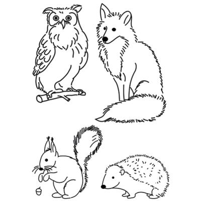 Efco (247) clear stamps Stempel Set - Waldtiere - Fuchs - Eule - Igel - Eichhörnchen