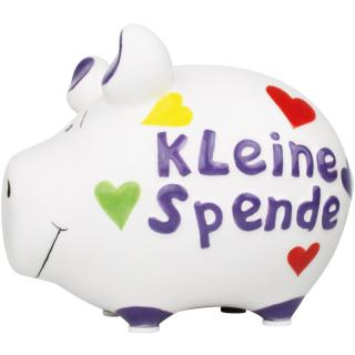 KCG Kleinschwein Keramik Sparschwein - Kleine Spende -  ca. 12 cm x 9 cm