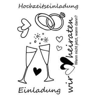 Efco (272) clear stamps Stempel Set - Hochzeitseinladung - Einladung - Wir heiraten