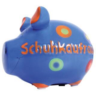 KCG Kleinschwein Keramik Sparschwein - Schuhkaufrausch -  ca. 12 cm x 9 cm