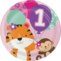 Mein 1. Geburtstag Mädchen  - One is fun  -  Teller,...