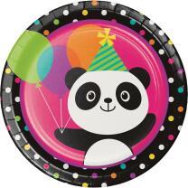 Panda  Bär  -  Teller, Pappteller, 8 Stück 23 cm