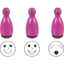 Stempel-Figuren - 3 Holz - Stempel pink -  Smiley...