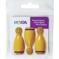 Stempel-Figuren - 3 Holz - Stempel orange -  Smiley...