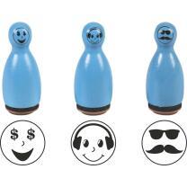 Stempel-Figuren - 3 Holz - Stempel blau -  Smiley...