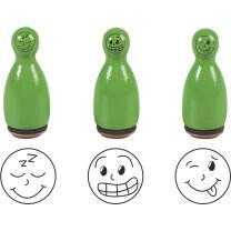 Stempel-Figuren - 3 Holz - Stempel grün -  Smiley...
