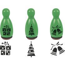 Stempel-Figuren - 3 Holz - Stempel grün -...