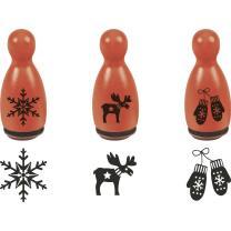 Stempel-Figuren - 3 Holz - Stempel rot - Nordic-Motive -...