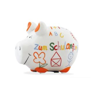 KCG Kleinschwein Keramik Sparschwein - Zum Schulanfang - ca. 12 cm x 9 cm