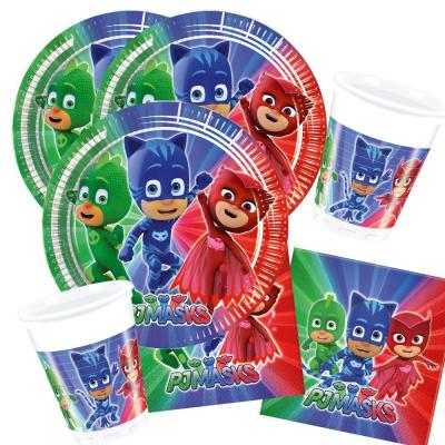 36-teiliges Party-Set PJ Mask Pyjamahelden - Party  - Teller Becher Servietten für 8 Kinder