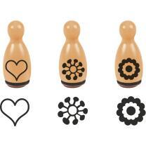 Stempel-Figuren - 3 Holz - Stempel orange - Blumen &...