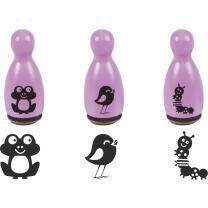 Stempel-Figuren - 3 Holz - Stempel pink - Frosch, Raupe...