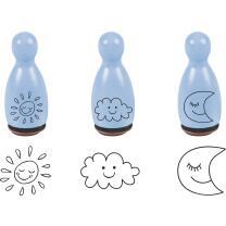 Stempel-Figuren - 3 Holz - Stempel hellblau - Sonne, Mond...