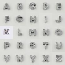 Schiebeperlen Buchstaben Alphabet 12 mm  silberfarben mit...