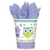 Becher -  Pappbecher Welcome Baby Waldtiere Eule Fuchs -...