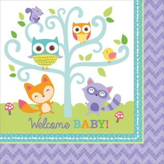 Servietten Welcome Baby Waldtiere Eule Fuchs -  16 Stück 33 x 33 cm