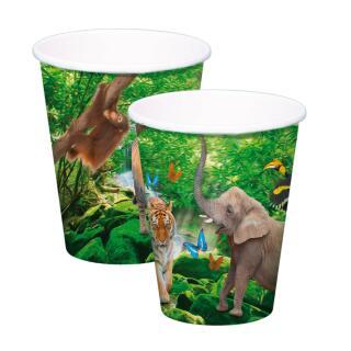 Becher - Pappbecher 250 ml, 8 Stück -  (Folat) wilde Tiere - Safari  - Löwe, Zebra, Giraffe, Elefant