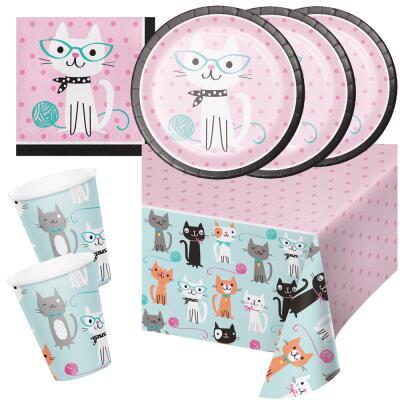 33-teiliges Party-Set  Katze - Kätzchen - Teller Becher Servietten Tischdecke für 8 Kinder