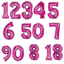 Anagram Folienballon Zahl  86 cm  pink - Auswahl